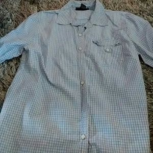 Karen Scott checkered blouse