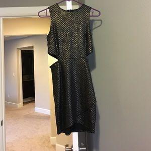 Black metallic cutout dress