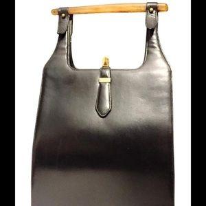 Igor Handbags - Vintage Igor lucite black leather handbag baguette