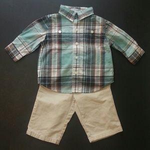 Janie and Jack Other - Janie and Jack Boys Plaid Shirt Khaki Pants