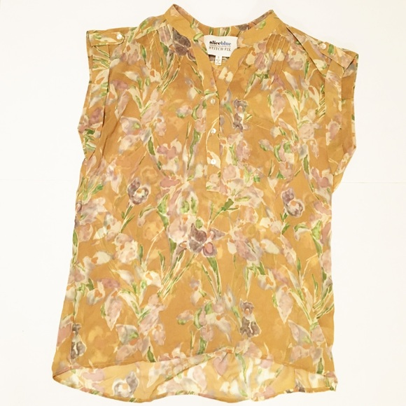 61b09736d78d52 Stitch Fix mustard yellow floral sheer top Sz S. M 5828e08b2ba50ac166086dc2