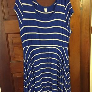 Blue and white striped A-line dress