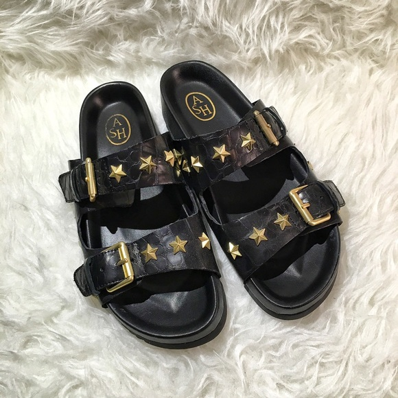 1c5a45901419 Ash Shoes - Ash United Star-studded Leather Slide Sandals