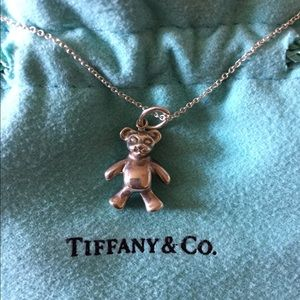 "Authentic Tiffany Silver Bear charm w/ 16"" chain"