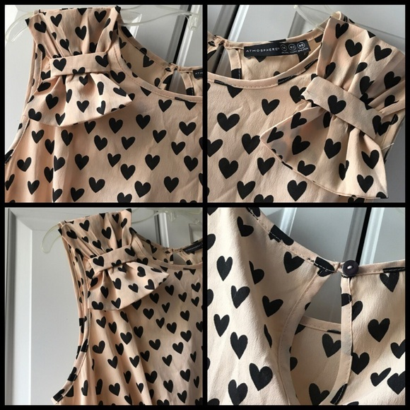 Atmosphere Dresses - Atmosphere 14 tan dress w black hearts