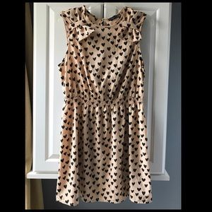 Atmosphere 14 tan dress w black hearts