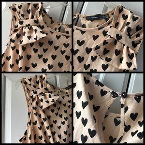Atmosphere Dresses - Atmosphere 14 tan dress w black hearts