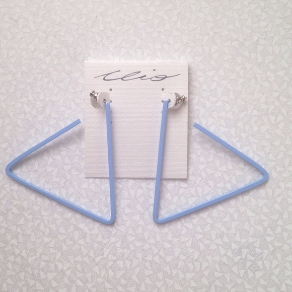 "Jewelry - blue 2.5"" triangle earrings"
