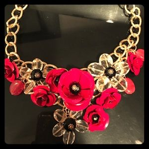 Jewelry - Gorgeous red flower enamel and chain necklace