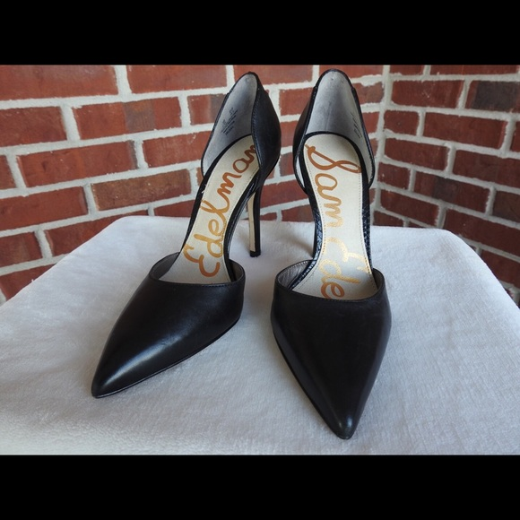 88e5cf8602ad Sam Edelman Shoes | 45 Tesla Dorsay Black Leather Pumps | Poshmark