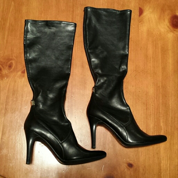 Nine West - NINE WEST Stretch Knee-high Black Heeled Boots from ...