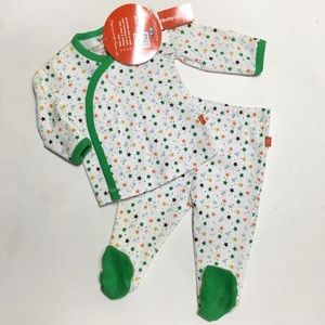 Magnificent Baby Other - Magnificent Baby Green Star Kimono Footie & Pants