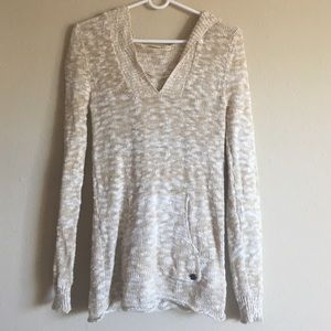 Cream knit sweater with hood