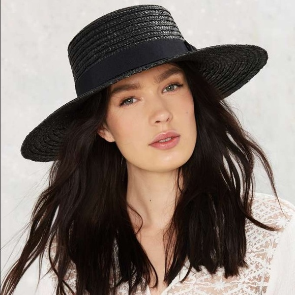 aa0fdbdb3e401 NASTY GAL Stay Afloat Straw Boater Hat Black NWT