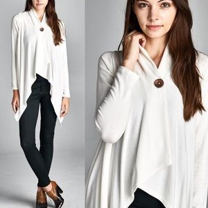"""Button Up"" Asymmetrical Soft Cardigan"