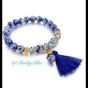 Beautiful Blue Beaded Tassel Stretch Bracelet