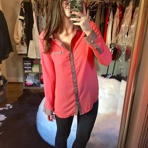 Free People coral and tan button up blouse