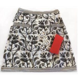 Studio M Dresses & Skirts - White w/Black Embroidery Midi skirt