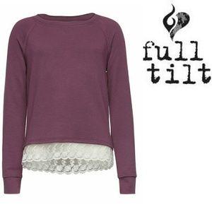Full Tilt Tops - Lace hem sweatshirt