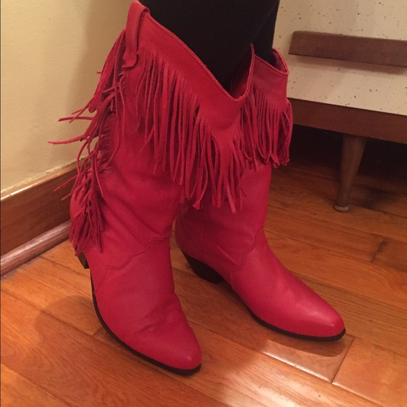 e772b6d8005 Cowgirl boots red leather with fringe DINGO 10