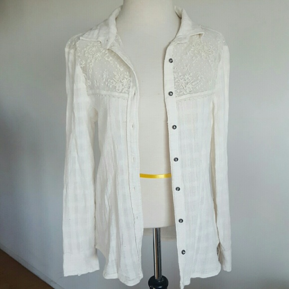 faa7832e35c1 Free People Tops - Free people lace white button down med.