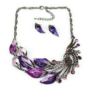 Jewelry - WHOLESALE ~  5 Leaf Peacock Necklace jewelry Set