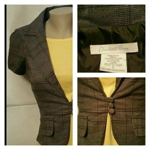 Career Blazer by Charlotte Russe Brown Plaid S EUC