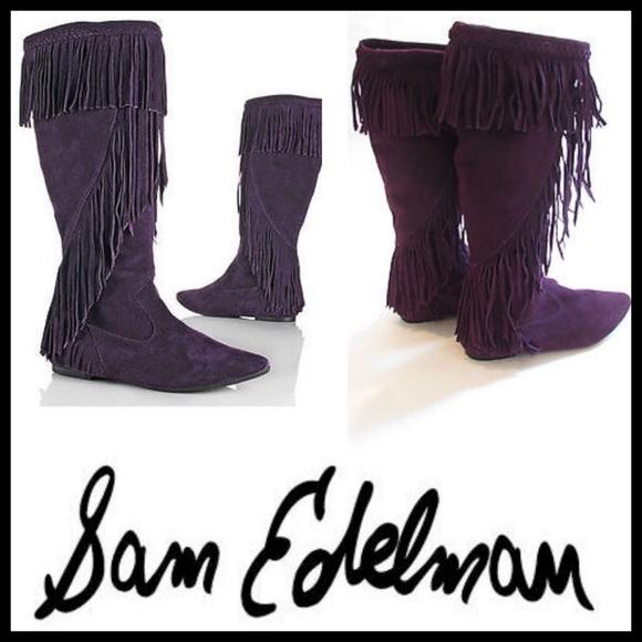 dc1b7af73c6a58 Sam Edelman Purple Suede Fringe Boots
