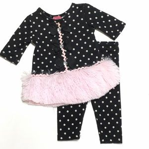 Little Mass Other - Black & Pink Polka Dot Fur Outfit