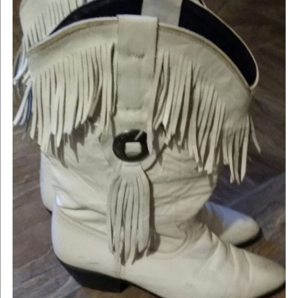 75% off Shoes - DISCOUNTED White Leather Fringe Boots sz 8 from ...