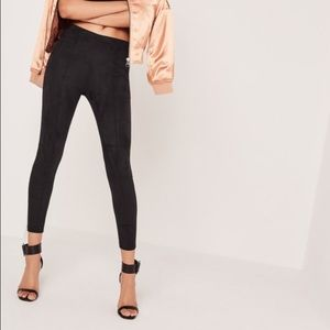 Black faux suede leggings