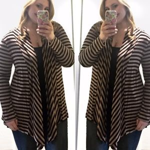 Sweaters - 1X- 3X Open Front Striped Cardigan w/elbow patch