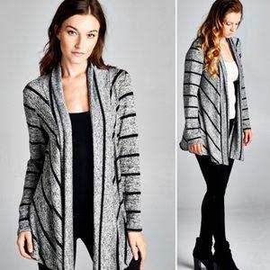 Sweaters - 3X Striped Open Cardigan - H.Grey/Black
