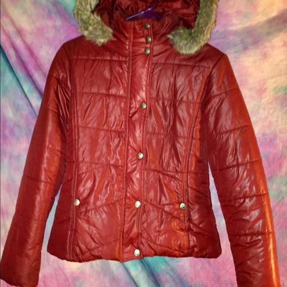 7484b1a67e7b4 YMI Jackets & Coats   Burgundy Faux Fur Hooded Puffer Coat Jacket M ...