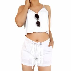 Joie Pants - Joie white linen shorts
