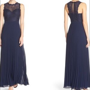 Xscape Dresses & Skirts - XScape Navy Petite Lace and Pleat Chiffon Gown