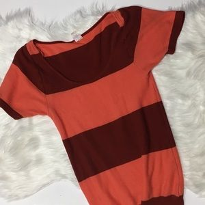 Free People Sweaters - Free people coral maroon striped shirt