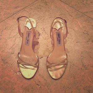 Gold Jimmy Choo sandals