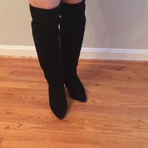 Shoes - 🎉SALE ! Black Suede over the knee heeled boots