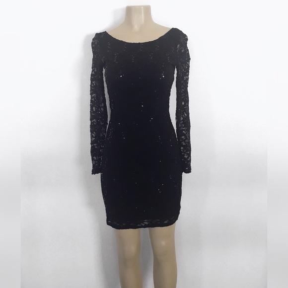 Macys Sequin Long Sleeve Lace Dress Nwt