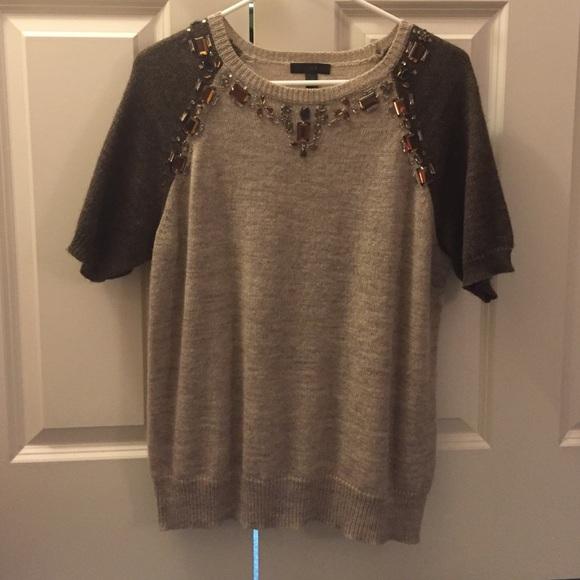 60% off J. Crew Sweaters - J. Crew embellished brown short sleeve ...