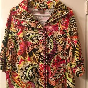 Jackets & Blazers - Fun multi color jacket.  Zip front w/ bead detail