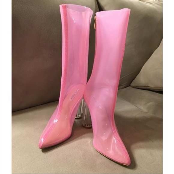 1 DAY SALE  Clear Heel Pink Lucite Boots