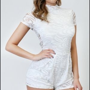 Pants - White Lace Romper