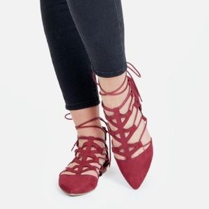 Shoes - 🌹Maroon lace up flats