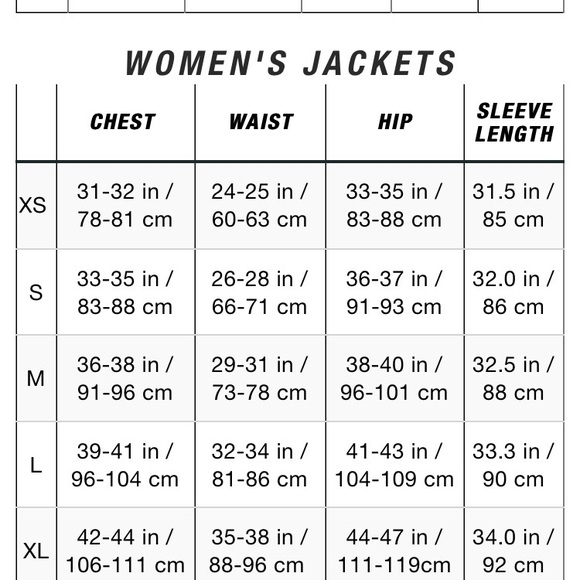 The north face jackets coats size chart north face womens m
