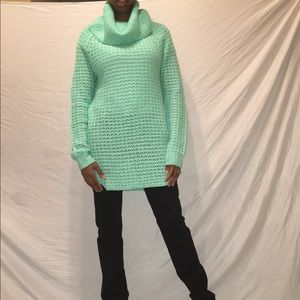Turquoise cowl neck sweater