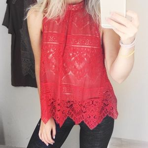 Tops - Red Lace Mock Collar Blouse