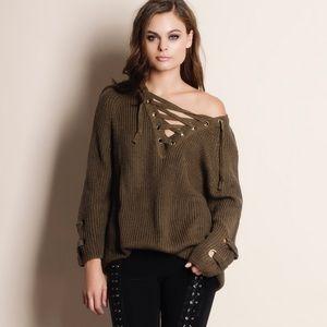 Bare Anthology Sweaters - Lace Up Chunky Oversized Sweater