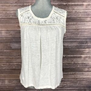 Madewell Tops - {Madewell} Sleeveless Lace Cream Top